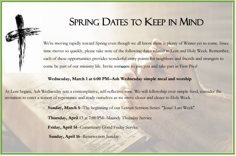 spring dates to keep in mind