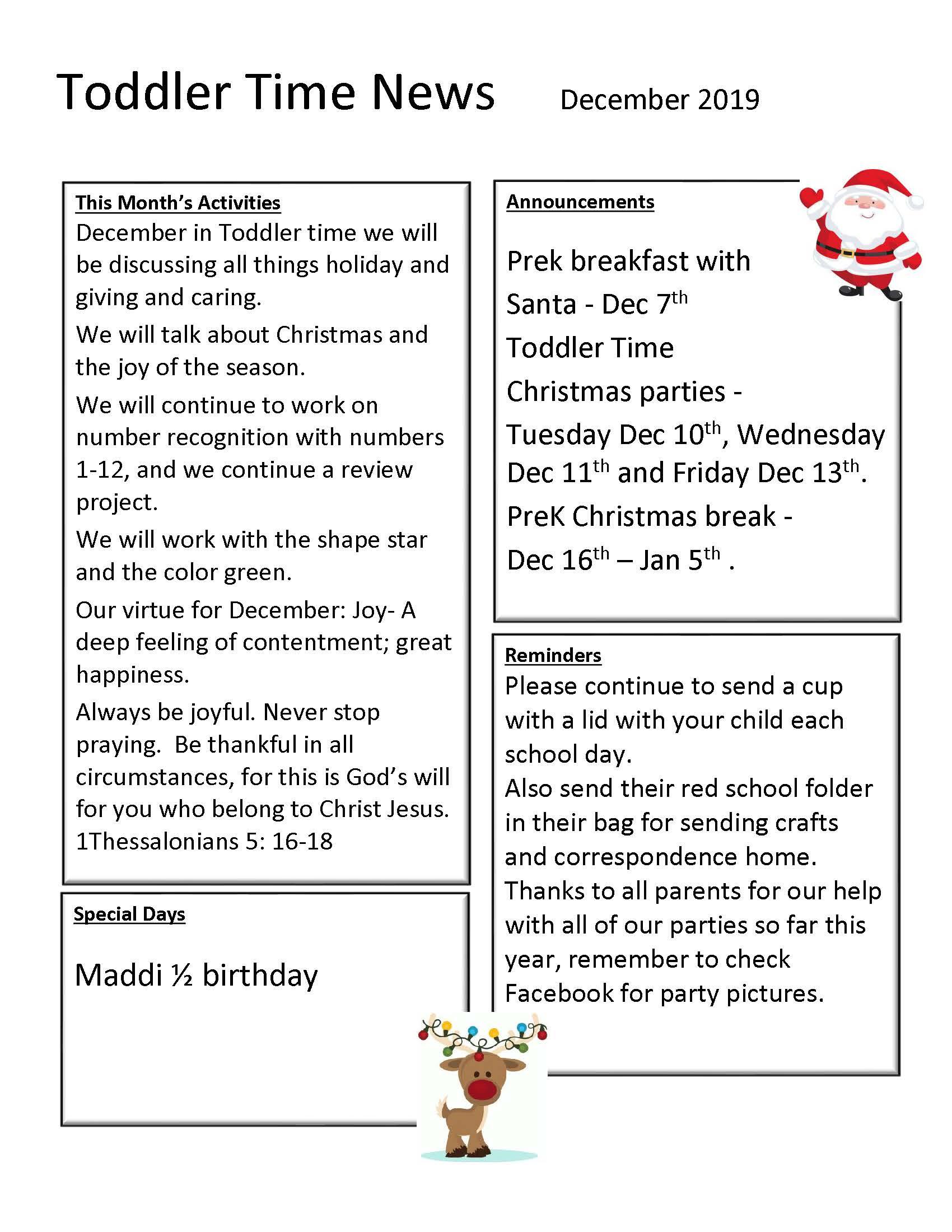 Dec Toddler time Newsletter 2019 Barber